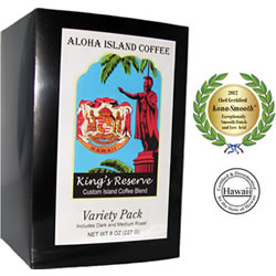 Variety Pack of Kona Smooth Medium and Dark Roast Coffee Pods from Aloha Island Coffee