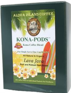 Lava Java Dark Roast Kona Blend Coffee Pods from Aloha Island Coffee