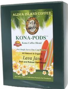 Lava Java Dark Roast Kona Blend Coffee Pods from Aloha Island Coffee