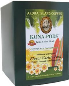 Variety Pack of Flavored Kona Blend Coffee Pods