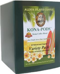 Variety of Roasts and Flavors of Kona Coffee Pods
