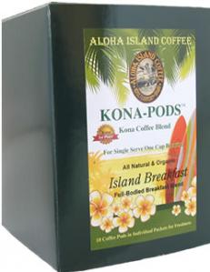 Breakfast Blend Kona Coffee Pods from Aloha Island Coffee