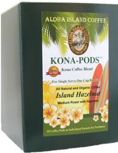 Hazelnut Kona Coffee Pods from Aloha Island Coffee