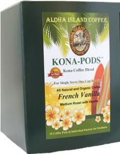 Vanilla Kona Coffee Pods from Aloha Island Coffee
