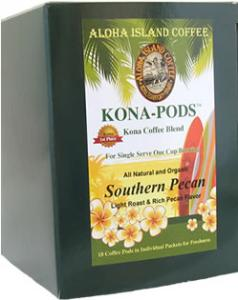 Southern Pecan Flavored Kona Coffee Pods from Aloha Island Coffee