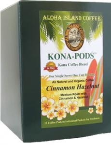 Cinnamon Hazelnut Flavored Kona Coffee Pods from Aloha Island Coffee