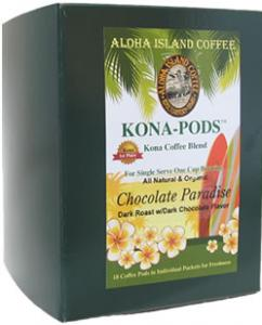 Chocolate Fudge Flavored Kona Coffee Pods from Aloha Island Coffee