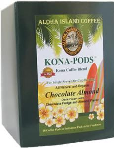 Chocolate Almond Flavored Kona Coffee Pods from Aloha Island Coffee