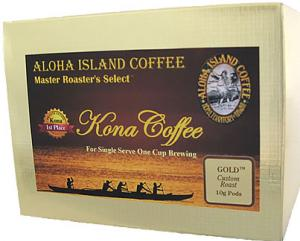 Famous GOLD 100% Pure Kona Coffee Pods from Aloha Island Coffee