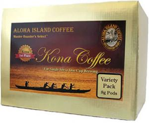 Variety Pack of 100% Kona Coffee 8g Coffee Pods