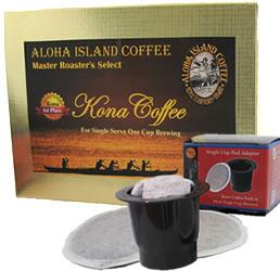 K-cup Pod Adapter and Dark Roast 100% Pure Kona Coffee