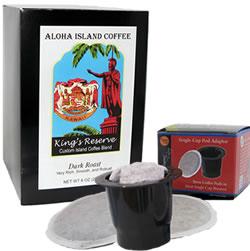 K-cup Pod Adapter and Kona Smooth Dark Roast Coffee Pods from Aloha Island Coffee