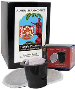 K-cup Pod Adapter and Kona Smooth Medium Roast Coffee from Aloha Island Coffee
