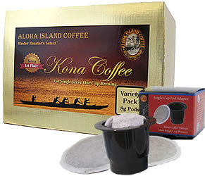 K-cup Pod Adapter and Variety Pack of 100% Pure Kona Coffee Pods from Aloha Island Coffee