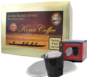 K-cup Pod Adapter and Variety Pack of Gold & Diamond 100% Pure Kona Coffee Pods
