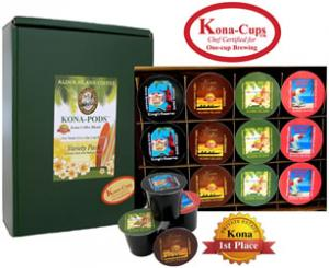 Variety Pack of Pure Kona and Kona Hawaiian Blend K-cups from Aloha Island Coffee