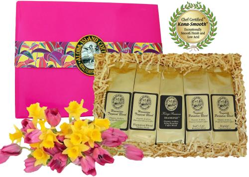 Platinum Collection of Kona Hawaiian Coffee in Bright Pink Gift Box, Best Gift for Her
