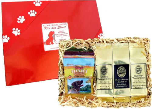 Gourmet Coffee Gift for Dog Lovers, Kona Hawaiian Coffee and Dog Treats for those early morning walks