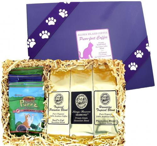 Best Gift for Coffee and Cat Lovers, Kona Hawaiian Coffee and Organic Cat Treats