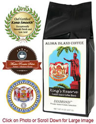 Diamond Kings Reserve Custom Kona Coffee Blend, Medium Roast, from Aloha Island Coffee