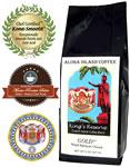 GOLD Kings Reserve Custom Kona Blend Coffee, Medium-Dark Roast, from Aloha Island Coffee