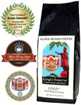 GOLD Kings Reserve Custom Kona Blend Coffee, Medium-Dark Roast, from Aloha Island Coffee