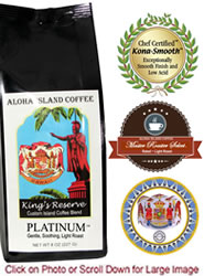 PLATINUM Kings Reserve Custom Kona Blend Coffee, Light Roast, from Aloha Island Coffee