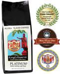 PLATINUM Kings Reserve Custom Kona Blend Coffee, Light Roast, from Aloha Island Coffee