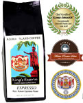 ESPRESSO Kings Reserve Custom Kona Coffee Blend, Espresso Roast, from Aloha Island Coffee