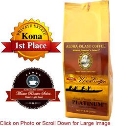 PLATINUM Light Roast 100% Pure Kona Coffee from Aloha Island Coffee
